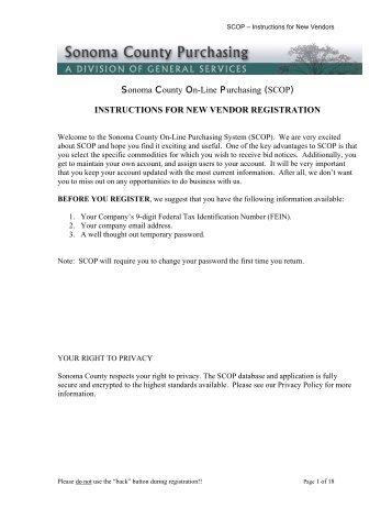 New Vendor Registration - Sonoma County