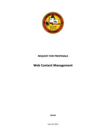 Web Content Management System Request For Proposals