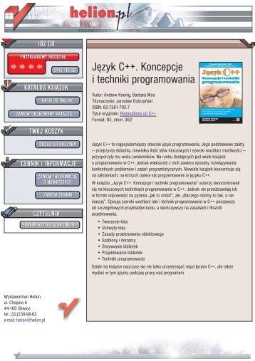 Język C++. Koncepcje i techniki programowania - Czytelnia online ...