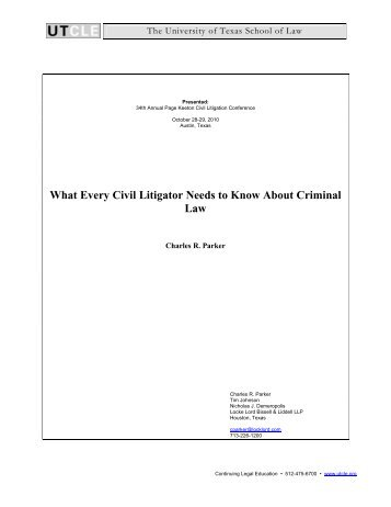 What Every Civil Litigator Needs to Know About Criminal Law
