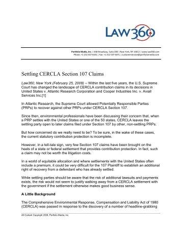 CERCLA 'Arranger' Liability: Emerging Risk for Environmental ...
