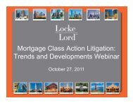 Mortgage Class Action Litigation: Trends and Developments Webinar