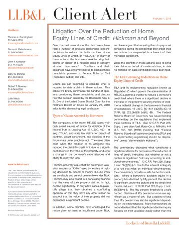 Litigation Over the Reduction of Home Equity Lines of Credit