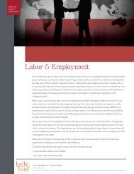 Labor & Employment - Locke Lord Bissell & Liddell LLP