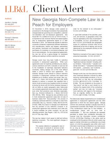 New Georgia Non-Compete Law is a Peach for Employers