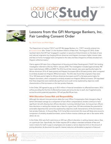 Lessons from the GFI Mortgage Bankers, Inc. Fair Lending Consent ...