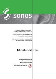 Jahresbericht 2012 - sonos - Schweizerischer Verband für das ...