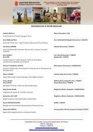KONUŞMACILAR VE BİLDİRİ BAŞLIKLARI - Hacettepe Üniversitesi