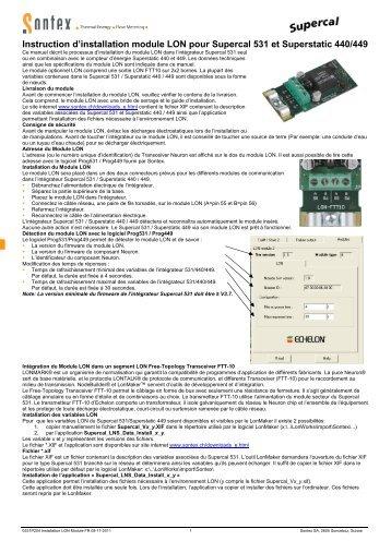 0531P204 Installation LON Module FR 08-11-2011 - Sontex SA