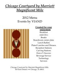 Catering Menu - Courtyard by Marriott Magnificent Mile