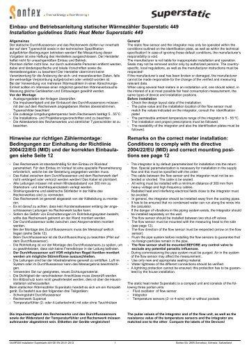 Montageanleitung Superstatic 449 - Sontex SA