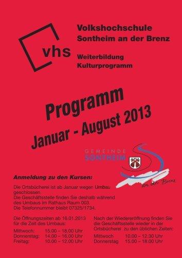 VHS Programm Januar 2013 - Gemeinde Sontheim an der Brenz
