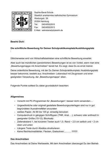 Bewerbung Fa R Einen Praktikumsplatz Sophie Barat Schule