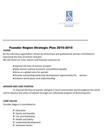 Founder Region Strategic Plan 2010-2015 - Soroptimist