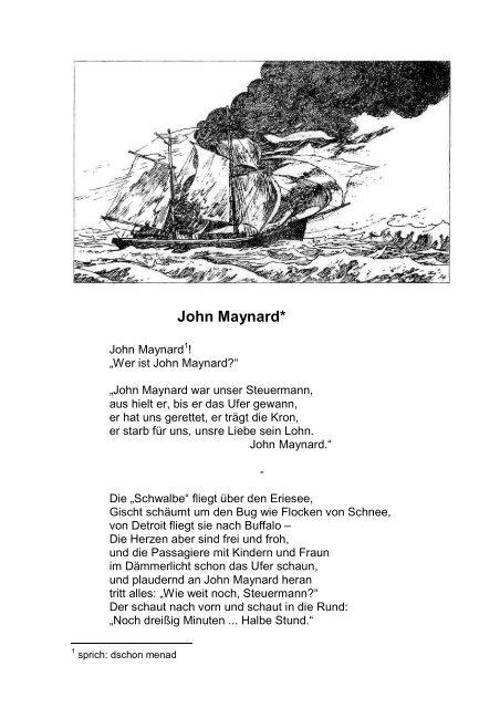Steuermann unser john gedicht war maynard Leselöwin: Gedichte