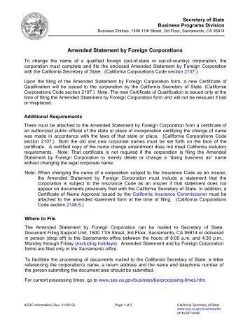 Amended Certificate of Authority - Foreign Profit Corporation