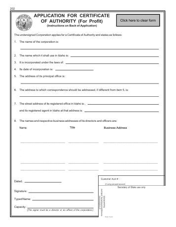 application for certificate of authority   secretary    s home pageapplication for certificate of authority   eminutes