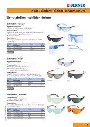 Schutzbrillen, -schilder, -helme Kopf-, Gesicht-, Gehör- u. Atemschutz