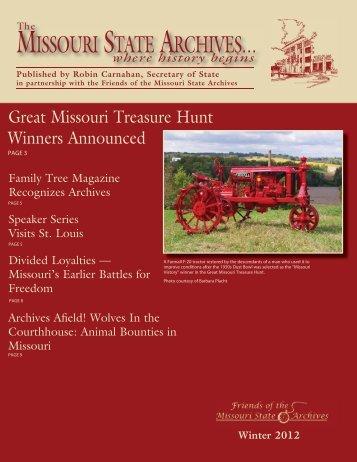 Winter 2012 Archives Newsletter - Secretary of State