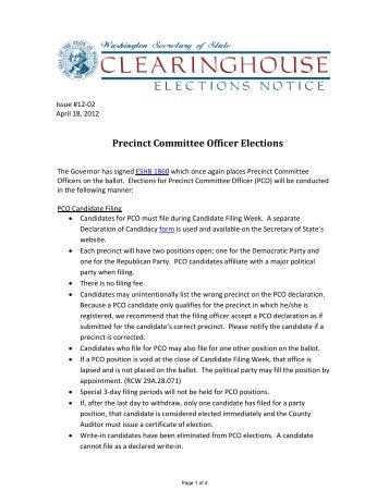 Precinct Committee Officer Elections - Washington Secretary of State