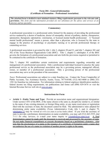 Form 415—General Information (Restated Certificate of Formation ...
