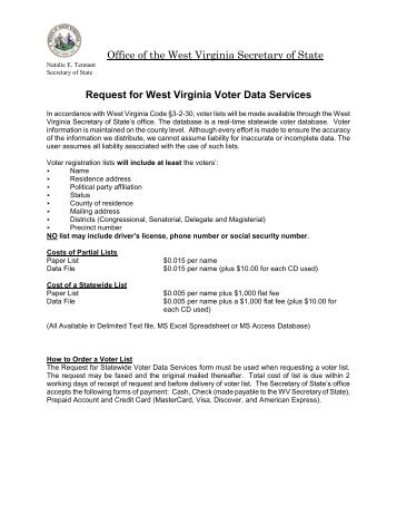 In accordance with West Virginia Code 3-2-30 ... - Secretary of State