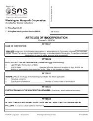 ARTICLES OF INCORPORATION - Washington Secretary of State