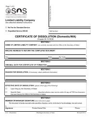 CERTIFICATE OF DISSOLUTION (Domestic/WA) - Washington ...