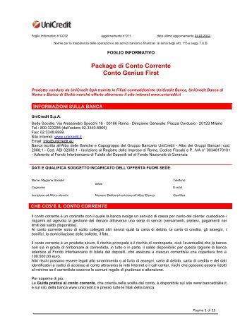 Prospetto informativo UniCredit Genius First (PDF) - Sos Tariffe
