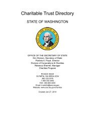 Charitable Trust Directory - Washington Secretary of State