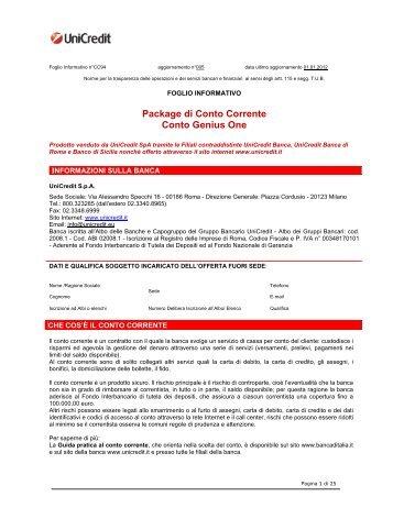 Prospetto informativo UniCredit Genius One (PDF) - Sos Tariffe