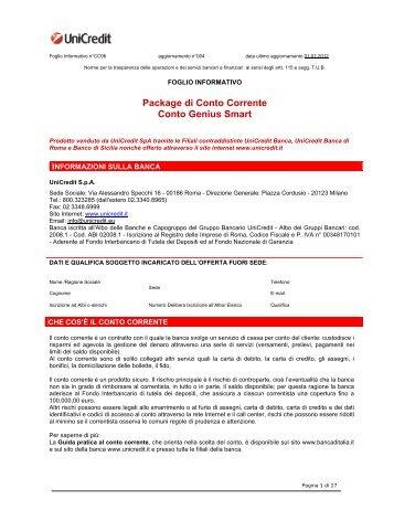 Prospetto informativo UniCredit Genius Smart (PDF) - Sos Tariffe
