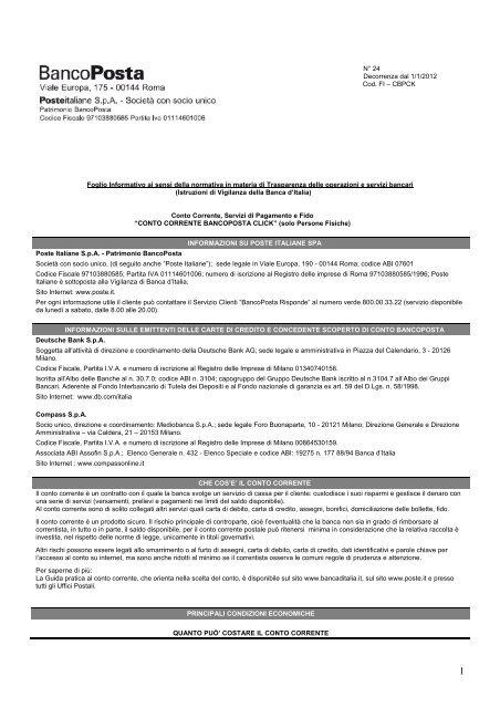 Prospetto Informativo Poste Italiane Conto Bancoposta Sos