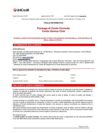 Prospetto informativo UniCredit Genius Club (PDF) - Sos Tariffe