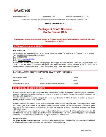 Prospetto informativo UniCredit Genius Club (PDF) - Sos Tariffe