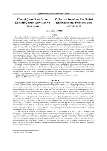 Küresel Çevre Sorunlarına Kolektif Çözüm Arayışları ve Yönetişim ...