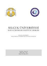 Dergi bilgileri - sosyal bilimler enstitüsü - Selçuk Üniversitesi