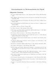 'Rechenmethoden der Physik' Allgemeine Literatur - Numerische ...