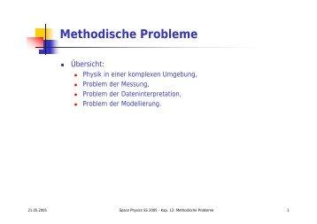 Methodische Probleme - Numerische Physik: Modellierung