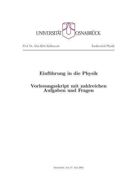 Einführung in die Physik Vorlesungsskript mit zahlreichen