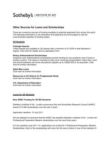 Other Sources for Loans and Scholarships - Sotheby's Institute of Art