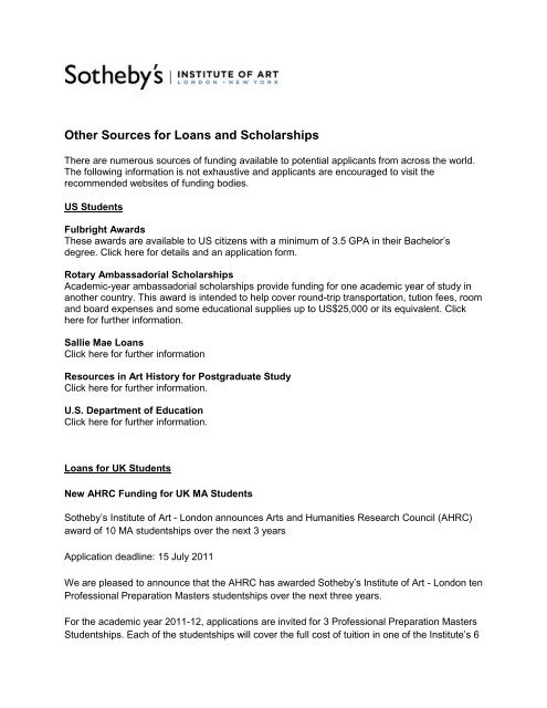 3 Year Loans >> Other Sources For Loans And Scholarships Sotheby S