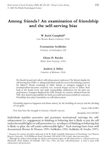 Among friends? An examination of friendship and the self-serving bias
