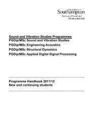 Sound and Vibration Studies Programmes PGDip/MSc Sound and ...