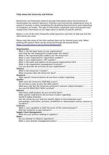 FAQs about the University and Policies Researchers are frequently ...