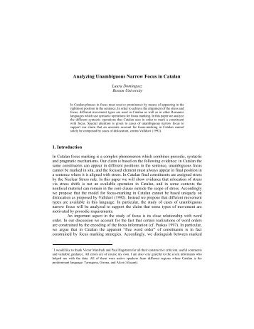Analyzing Unambiguous Narrow Focus in Catalan* - University of ...