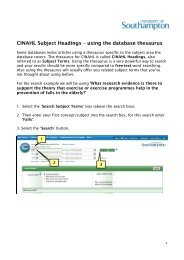 CINAHL Subject Headings – using the database thesaurus
