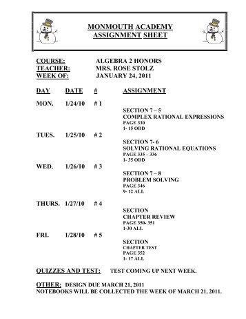 3rd marking period algebra 2 - SchoolRack