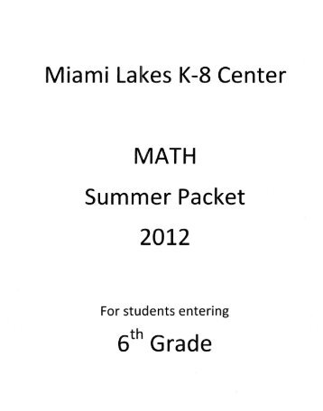 Miami Lakes K-8 Center MATH Summer Packet - SchoolRack