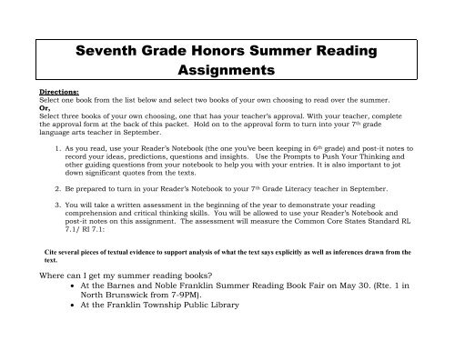 Seventh Grade Honors Summer Reading Assignments